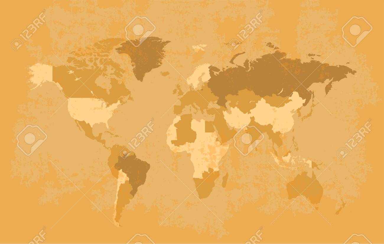World Map Old Style.World Map Grunge With Borders Old Style Royalty Free Cliparts
