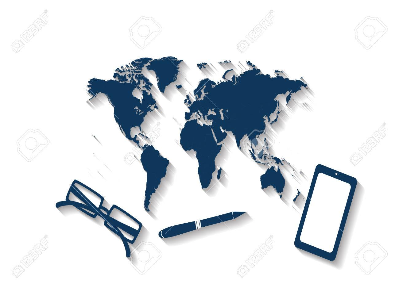 World map office desk traveling royalty free cliparts vectors and vector world map office desk traveling gumiabroncs Images
