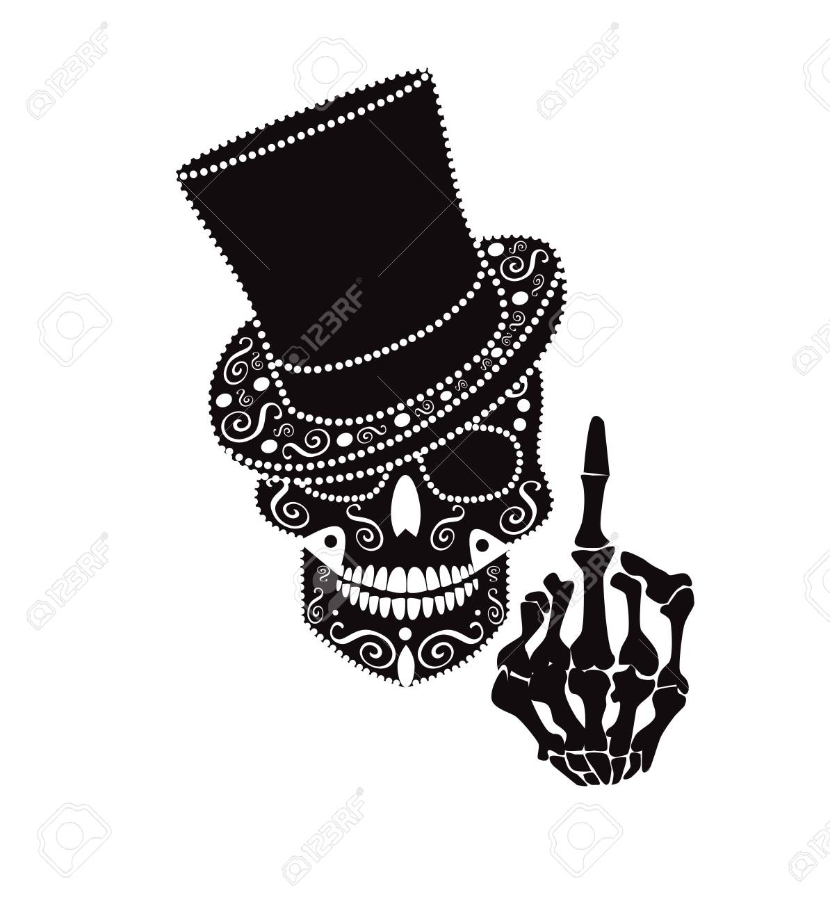 Skull icon gentleman with middle finger and cylinder hat - 103488929