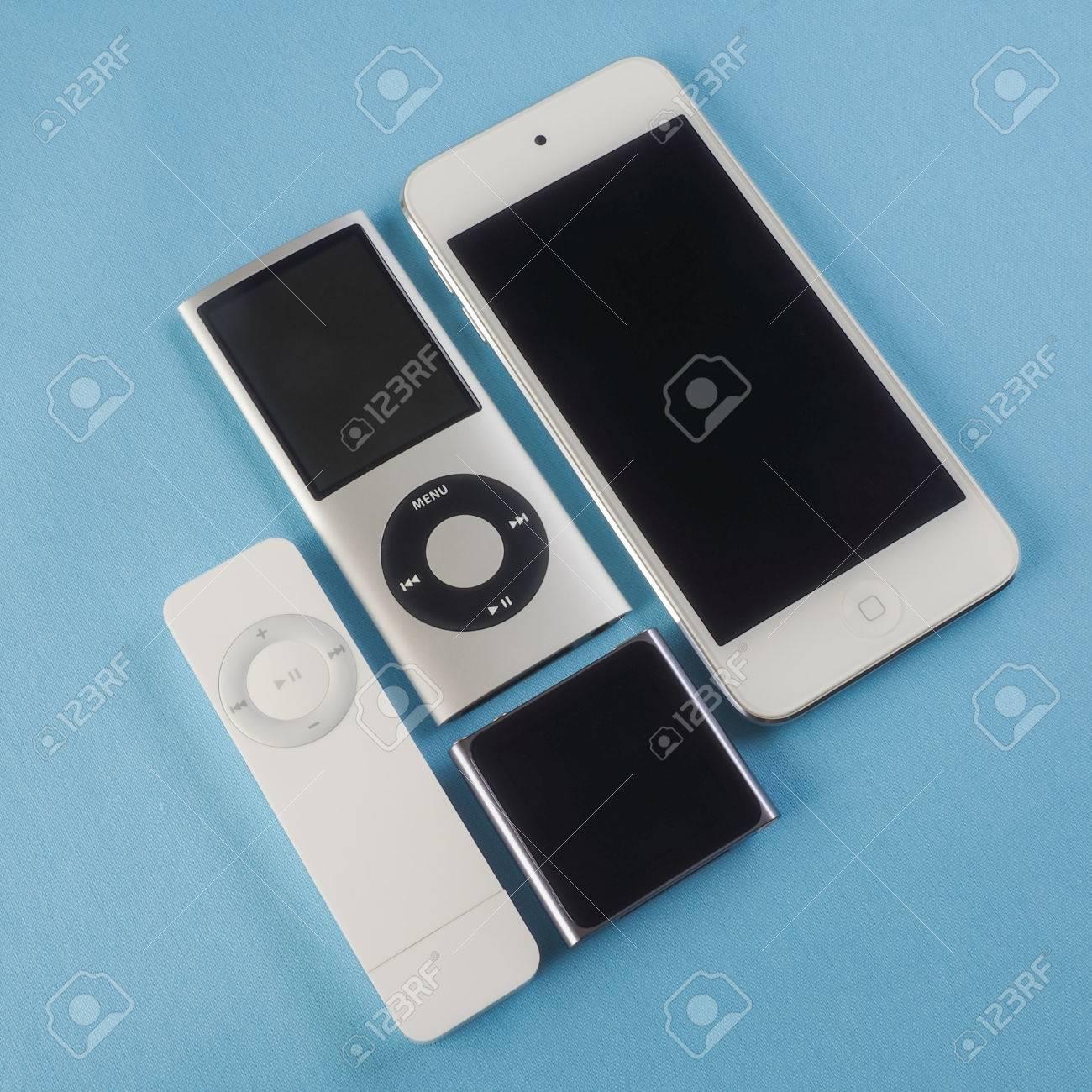 Berry, Australia - June 20 2016 : A group of Apple iPods - iPod Nano
