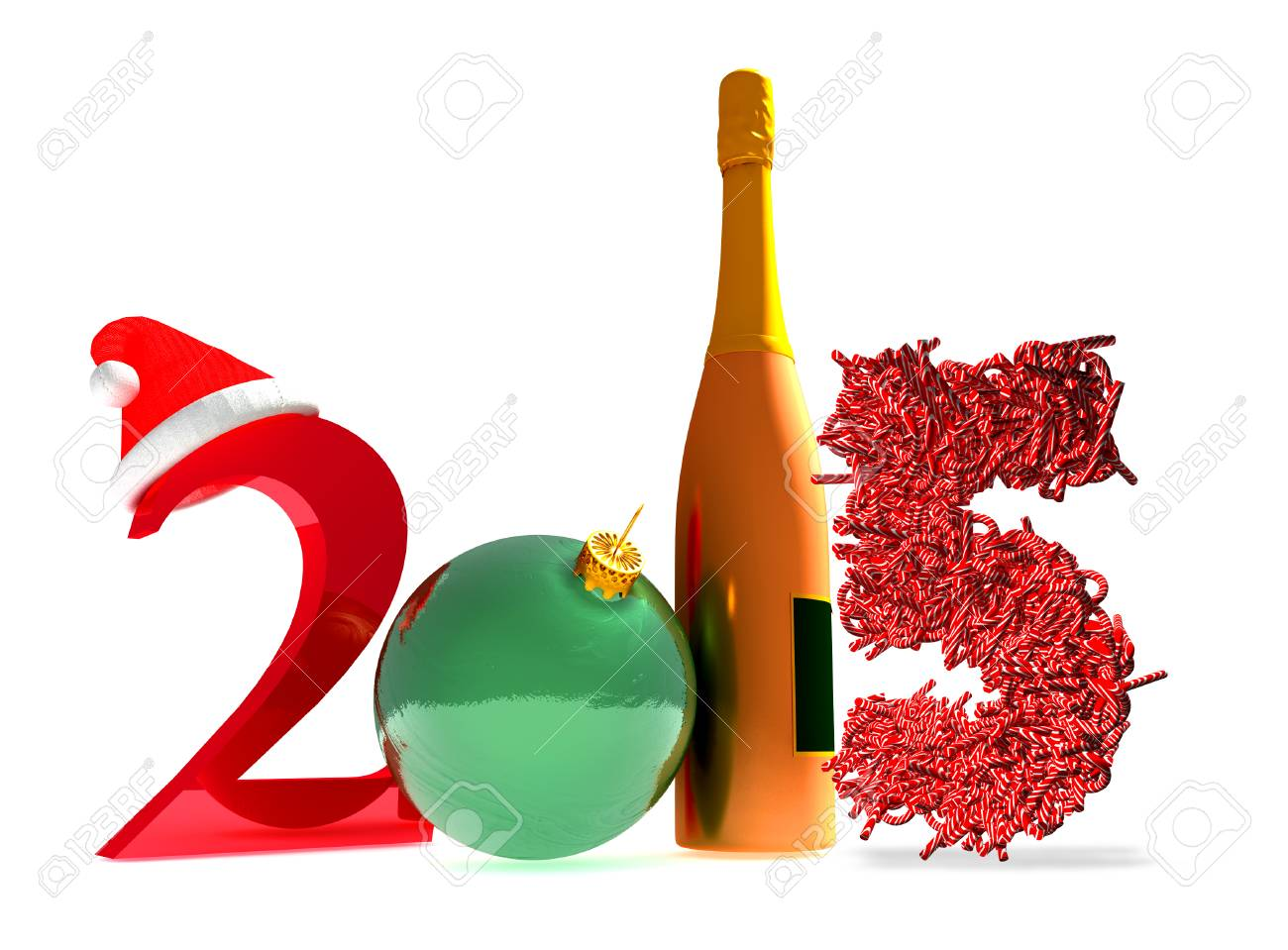 3d Rendering Of New Year 2015 And Happy New Year Greetings Stock