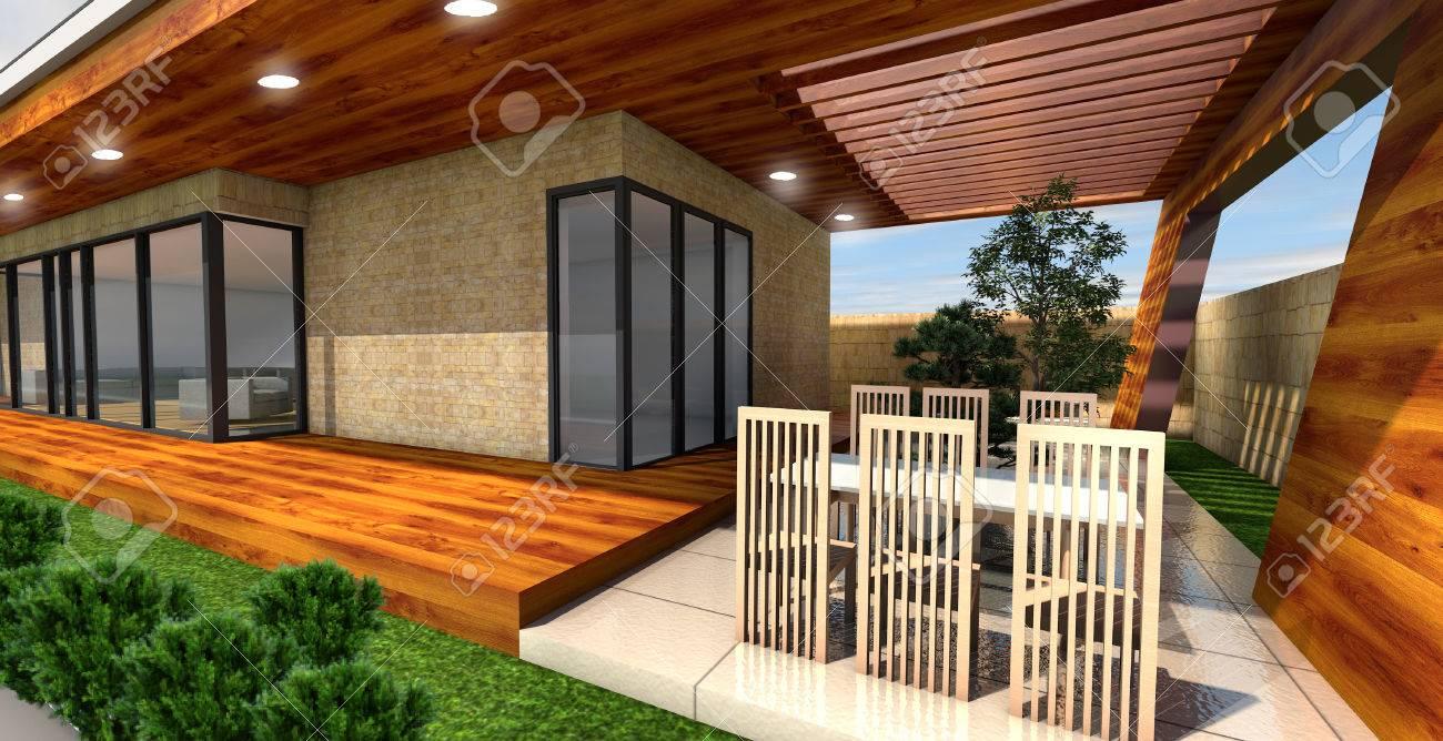Representación 3d De Terraza Casa Moderna