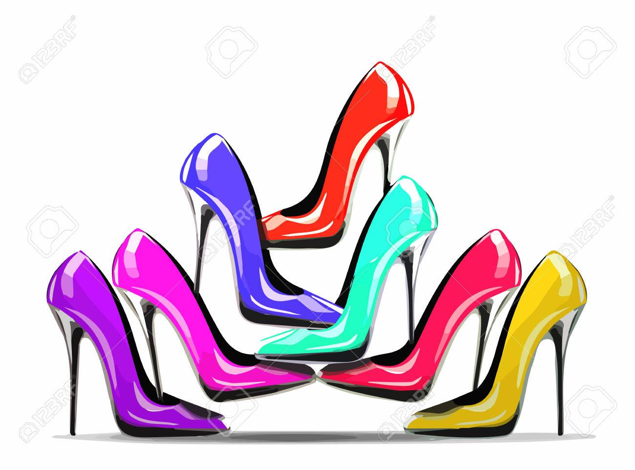 Pile of colorful high heel shoes in the shop, isolated on white background, concept for shopping and fashion sale. eps10 - 67822607