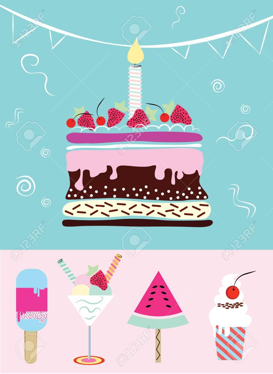 Gateau Cupcakes Creme Glacee Collection D Article D Anniversaire Drole Mignon Mariage Anniversaire Anniversaire Valentin Invitations De Fete