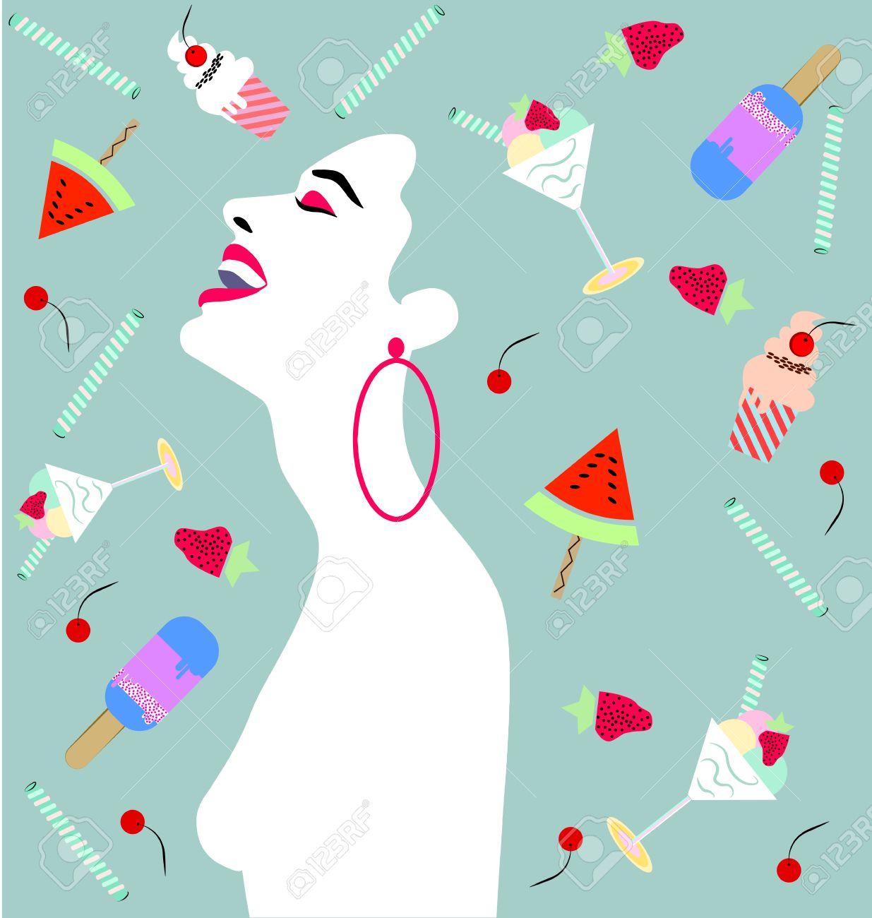 Femme Heureuse En Riant Avec Gâteau Petits Gâteaux Glaces Fruits Rencontre Anniversaire Anniversaire Valentin Concept Dinvitation De