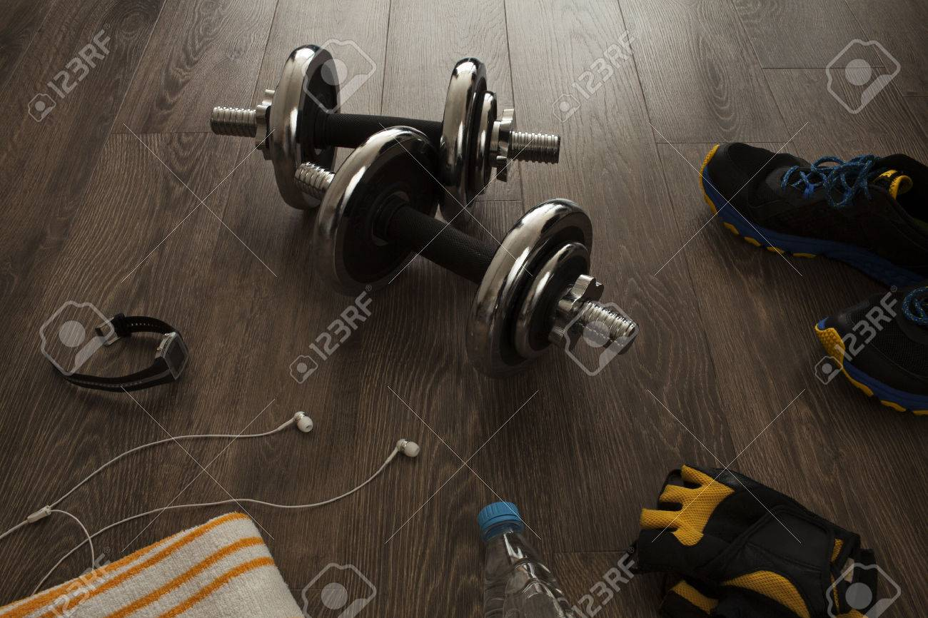All the necessary equipment for fitness Stock Photo - 48326419