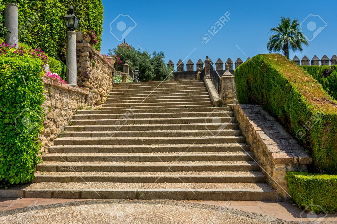 Spanish Steps To The Orchard In Royal Gardens Of The Alcazar.. Stock ...