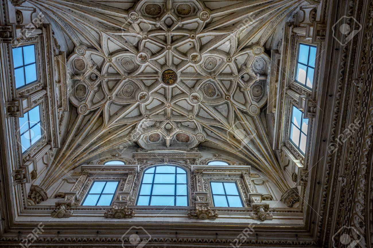 Ornate Design On The Ceiling Of The Mezquita De Cordoba The Stock Photo Picture And Royalty Free Image Image 83202458