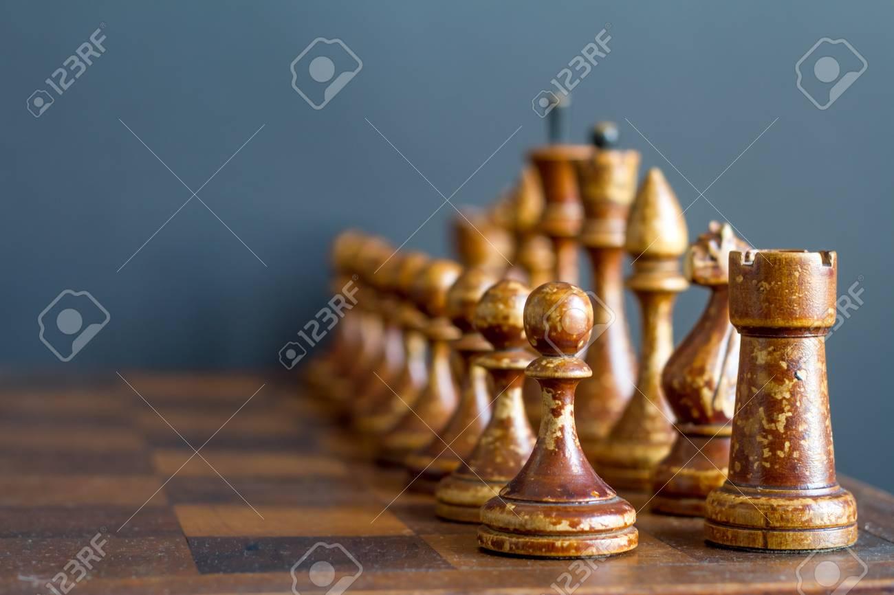 uusin suurin alennus Alin hinta Vintage wooden chess pieces on an old chessboard.