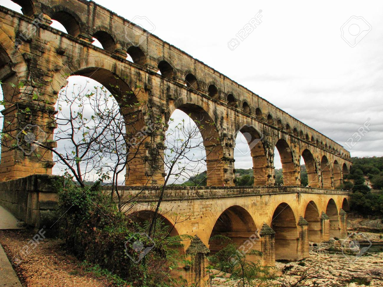 A view of an aqueduct Pont Du Gard in France Stock Photo - 3905937