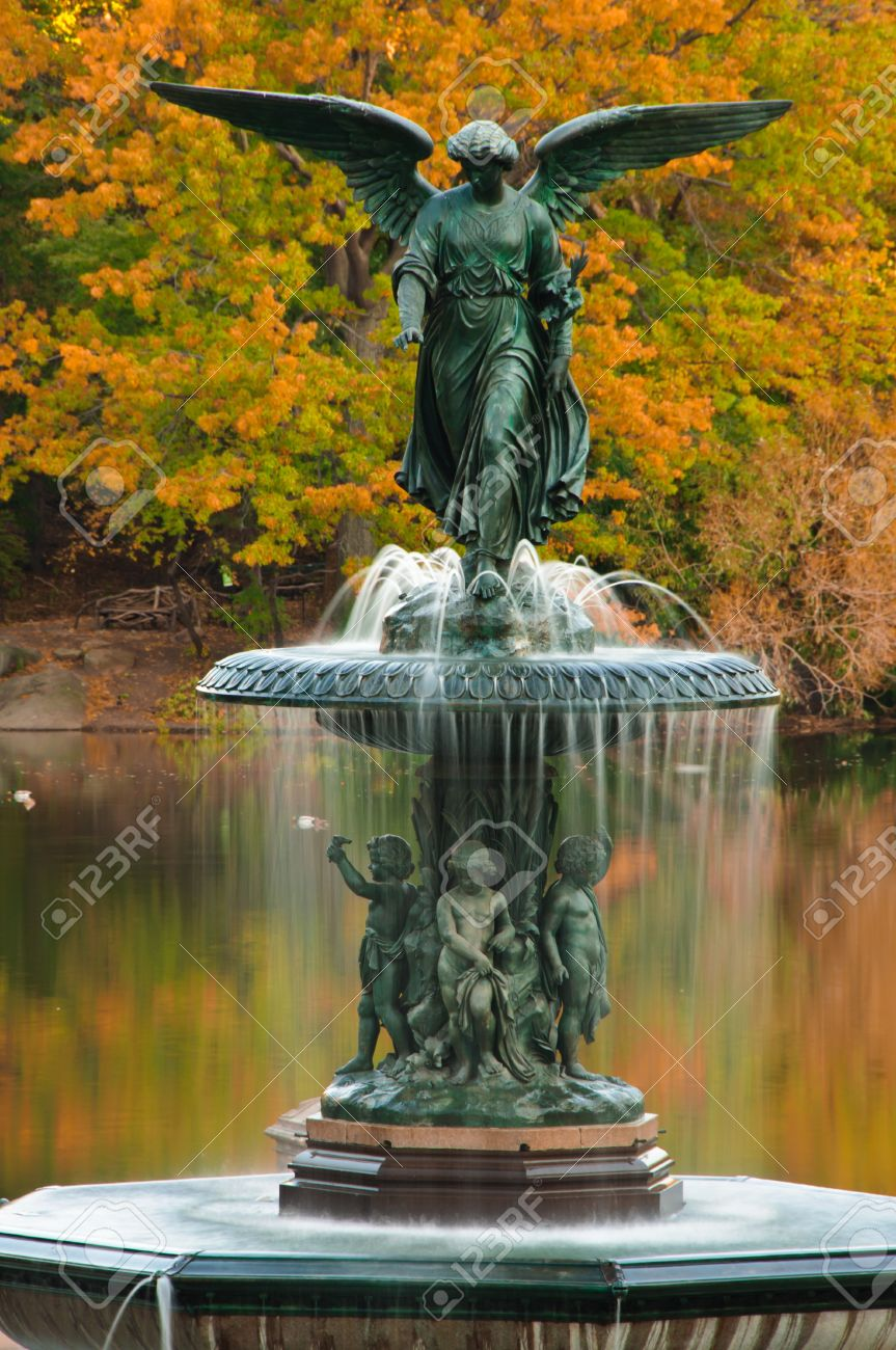 fall at bethesda fountain. central park, new york city stock photo