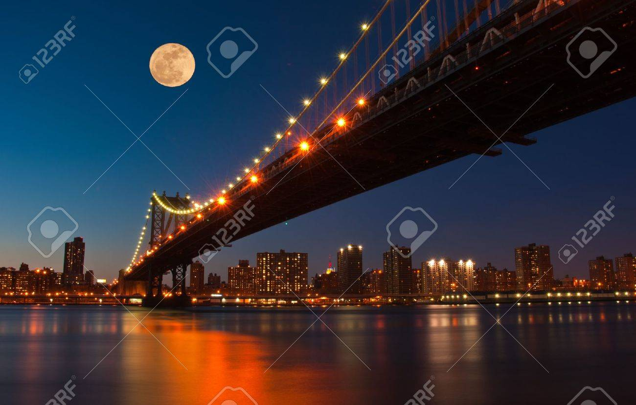 Full moon over NYC pics