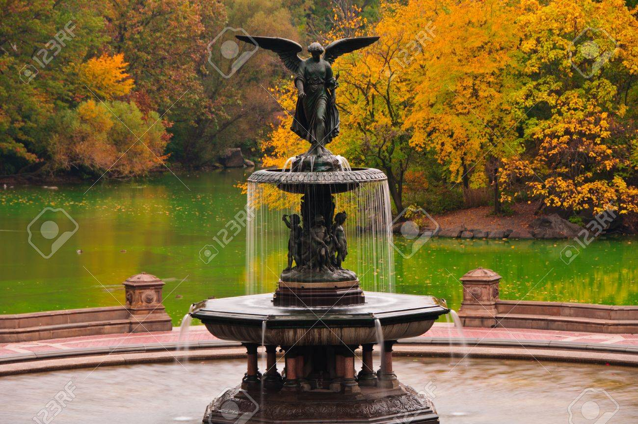 fall colors at bethesda fountain in central park new york city