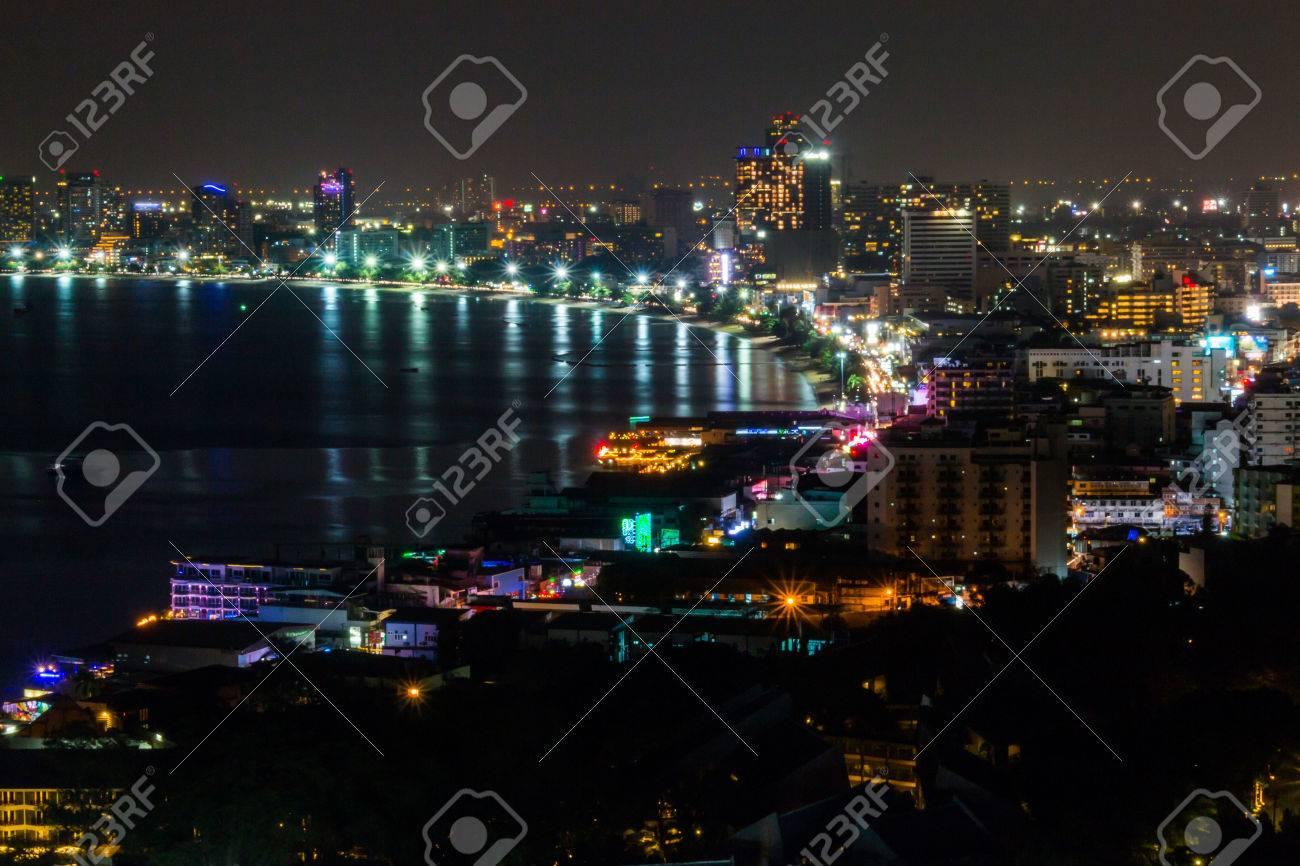 Immagini Stock Città Sul Mare Di Notte Per Lo Sfondo Image 53184217