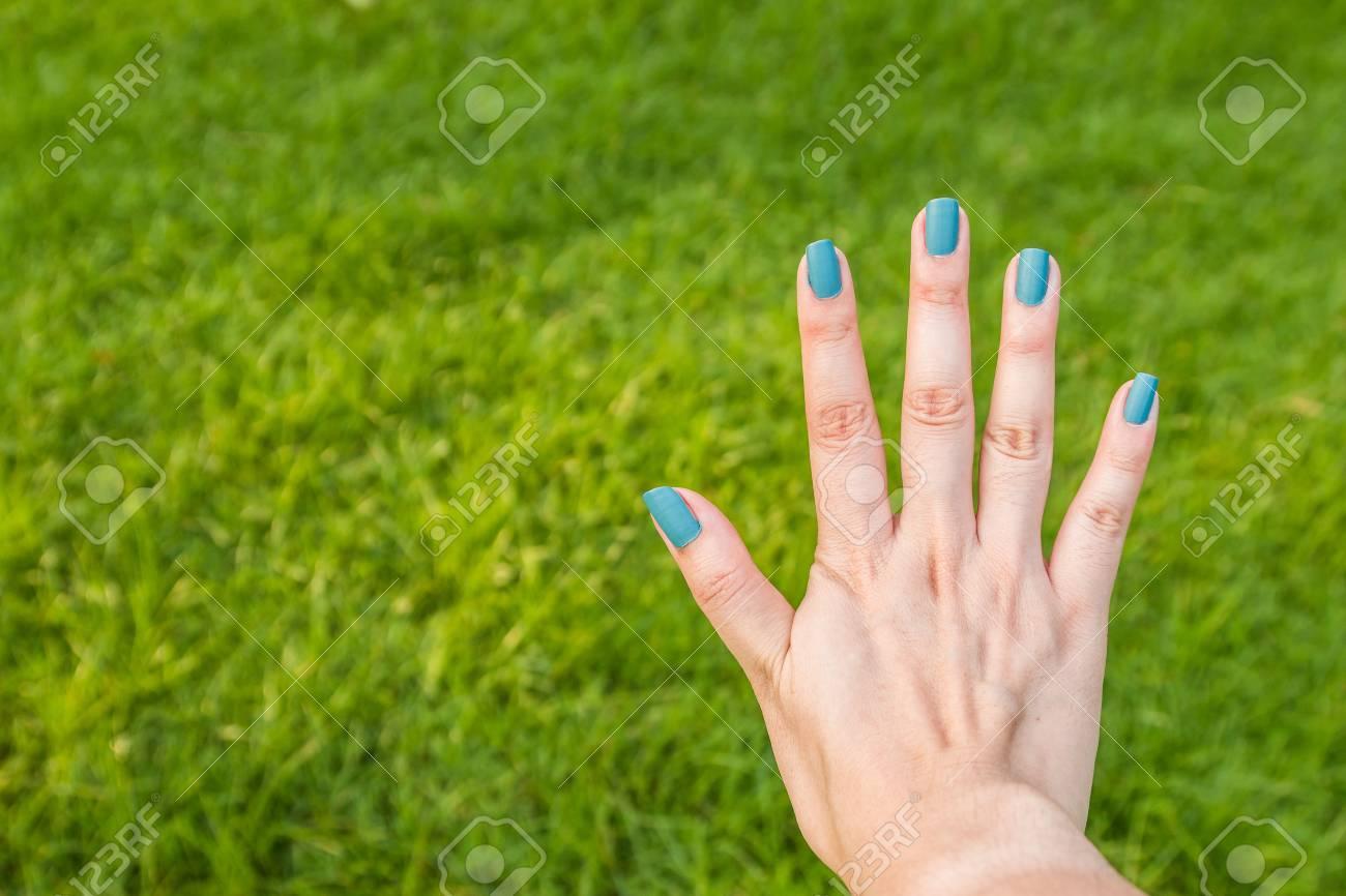 Cinco Dedos De Uñas Es Azul Sobre Fondo Verde Fotos, Retratos ...