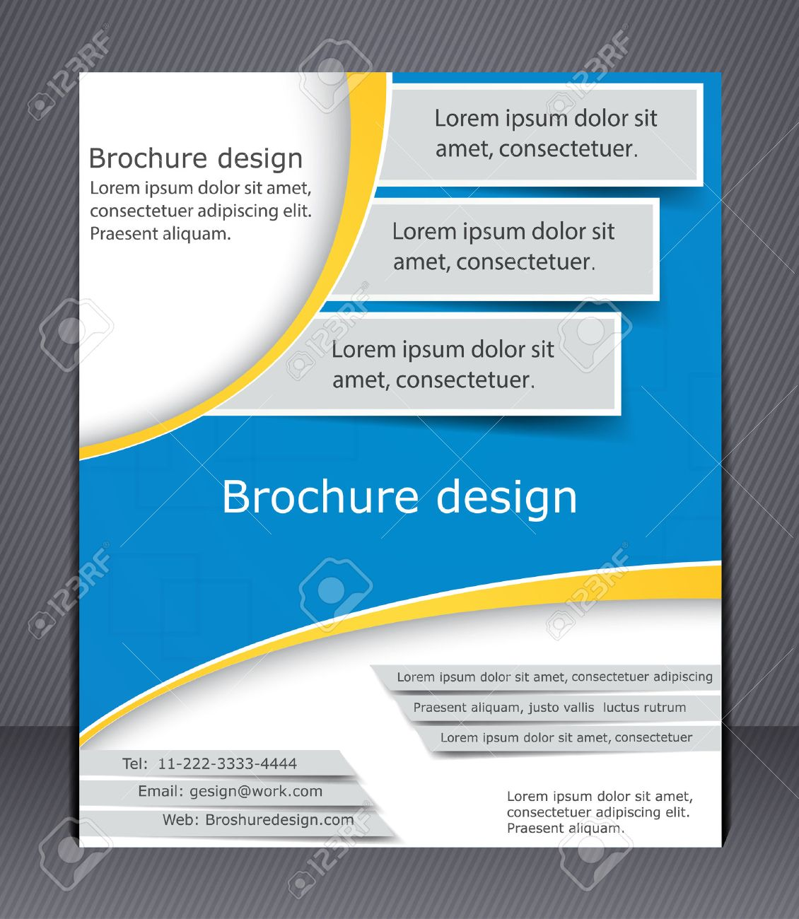 Brochure Design In Blue And Yellow Colors Layout Flyer Template – Blue Flyer Template