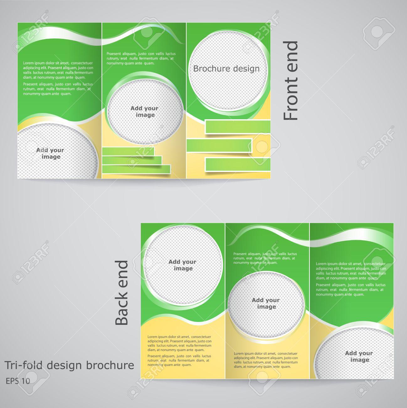 Diseño De Folleto Tríptico. Diseño De La Plantilla Folleto Con ...