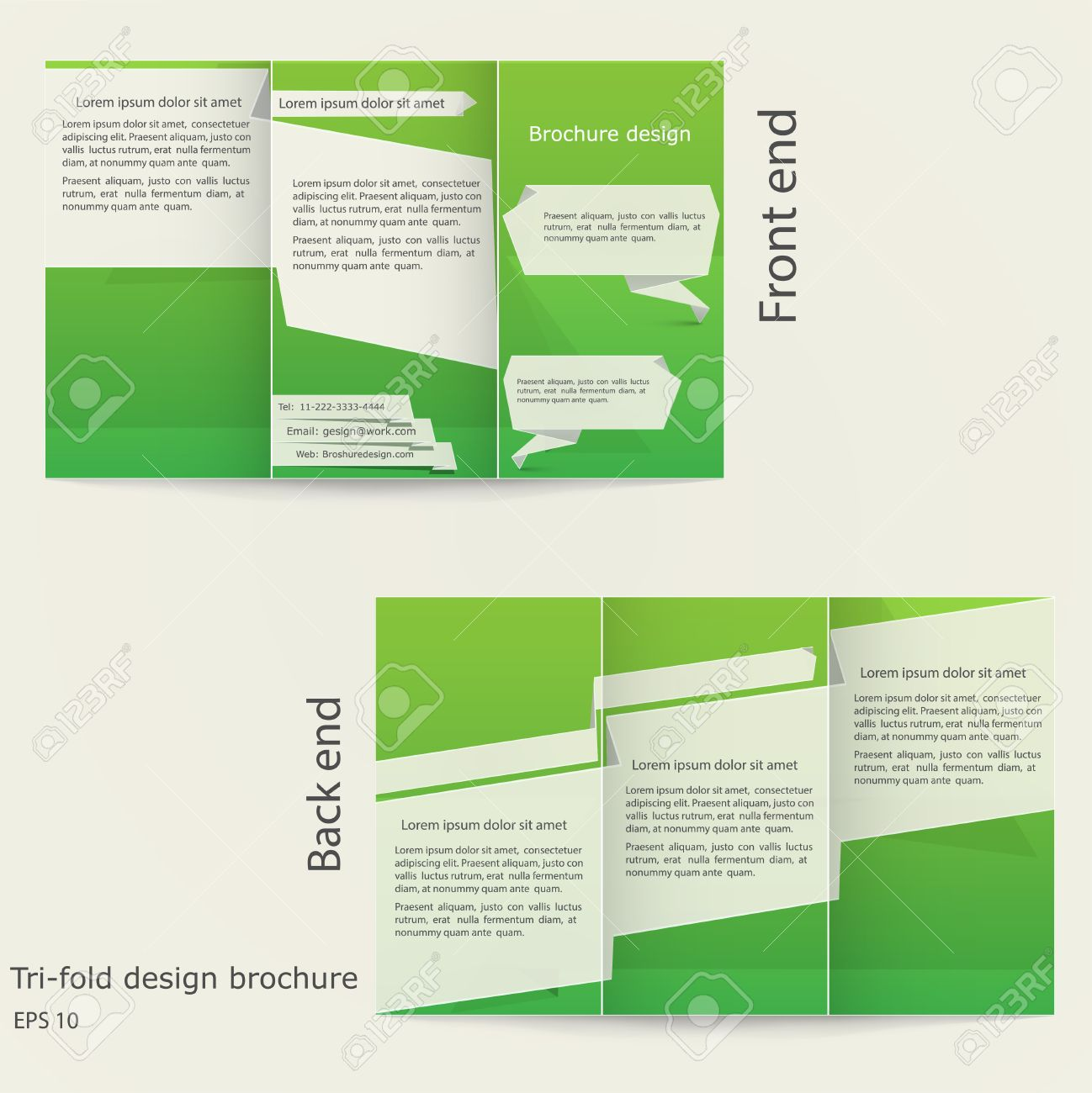 tri fold brochure design brochure template design with green