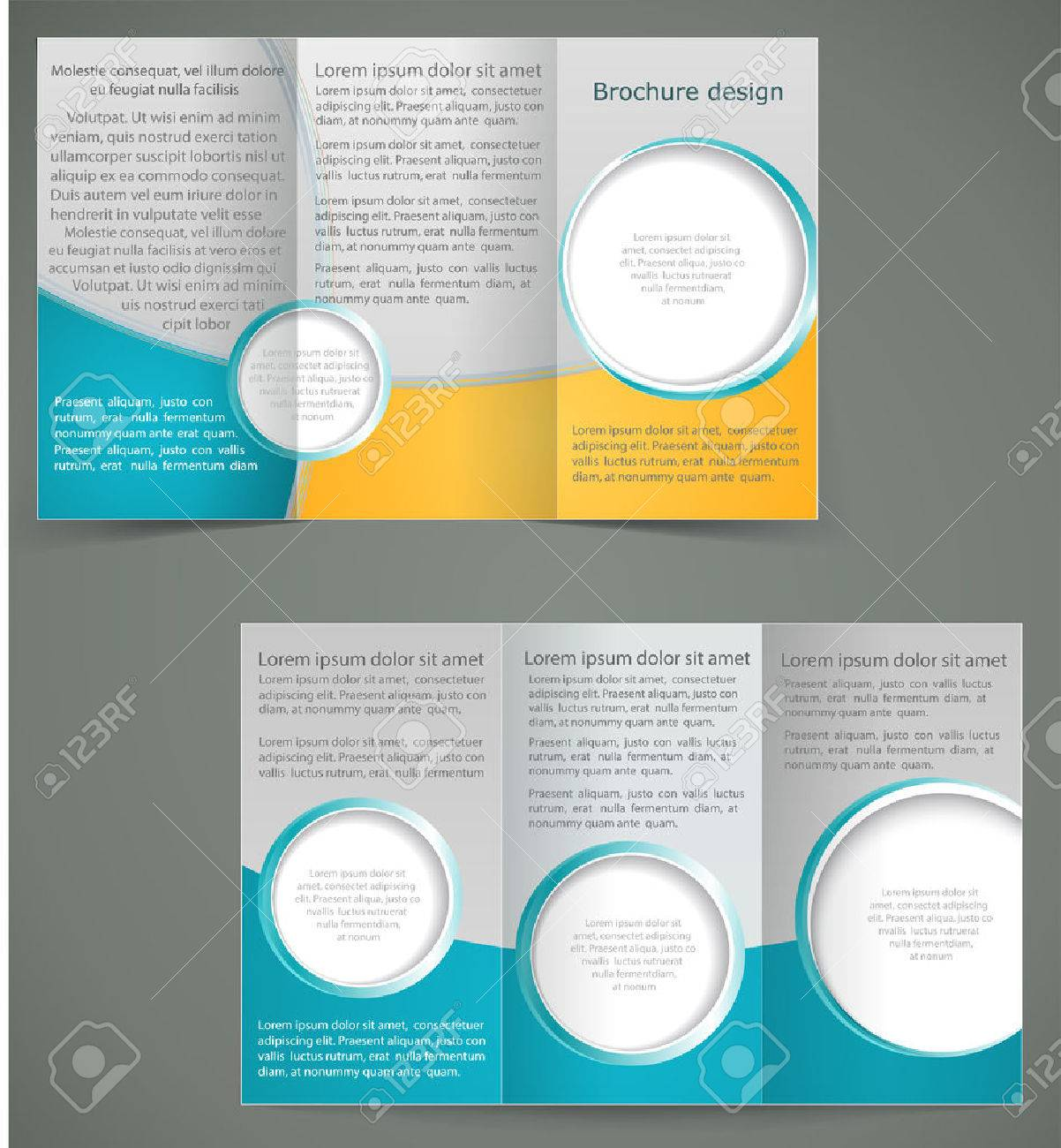Vector Green Brochure Layout Design With Yellow Elements Business - Brochure layout template