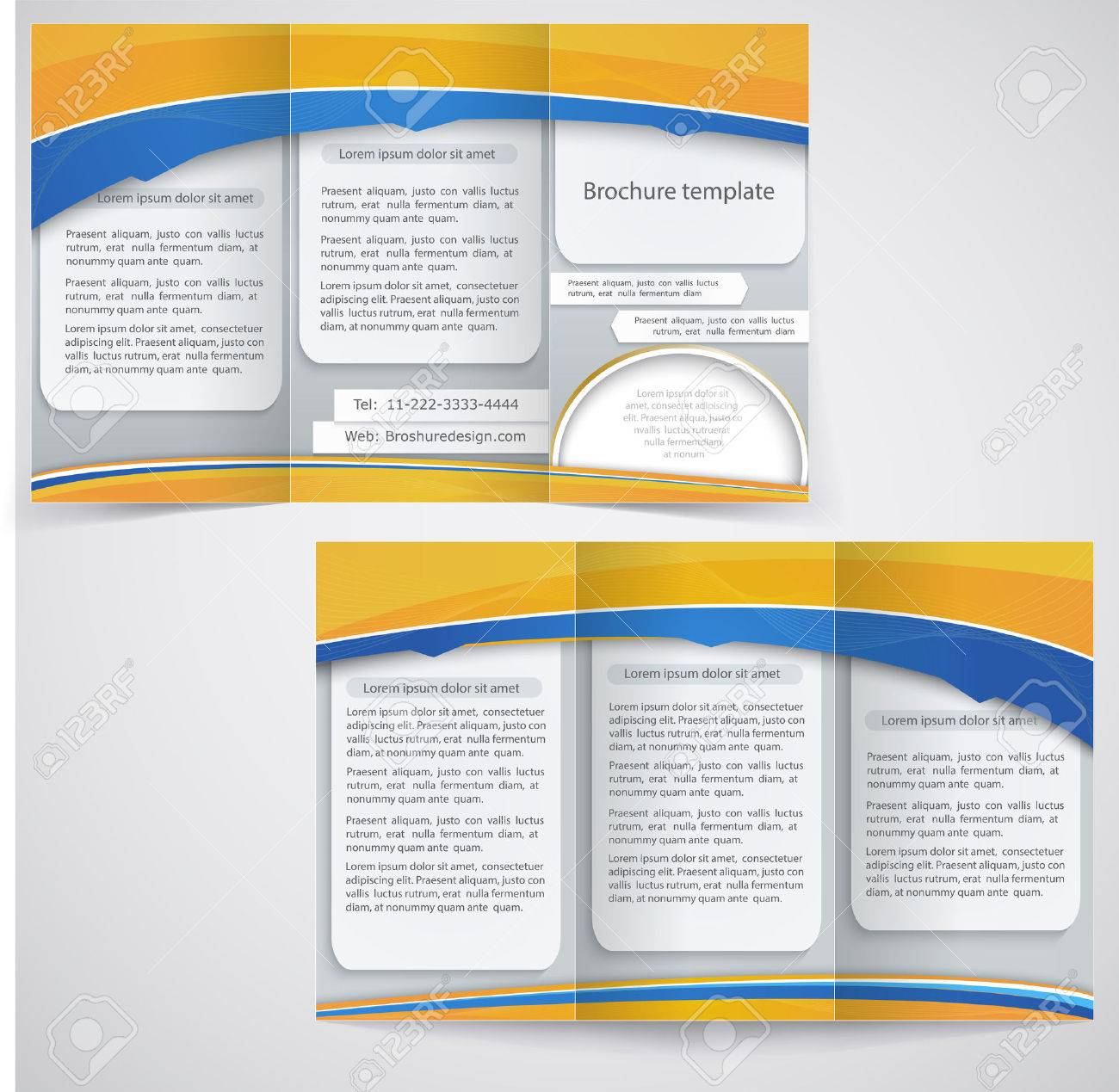 Vector Blue Brochure Layout Design With Yellow Elements Business - Brochure layout template
