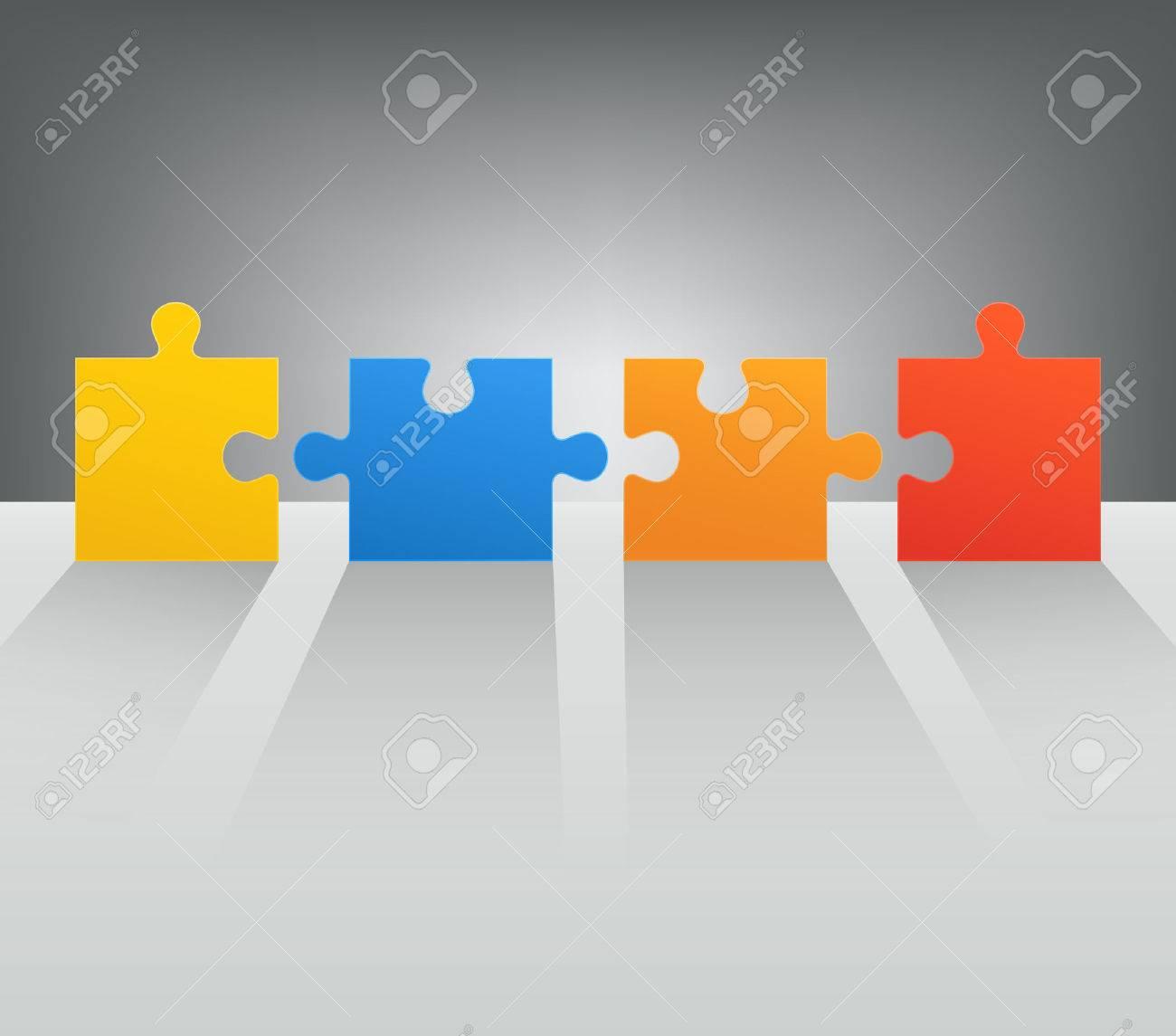 Parti puzzle con lunghe ombre colorate metafore astratte, concetto di  business, web design, pubblicità