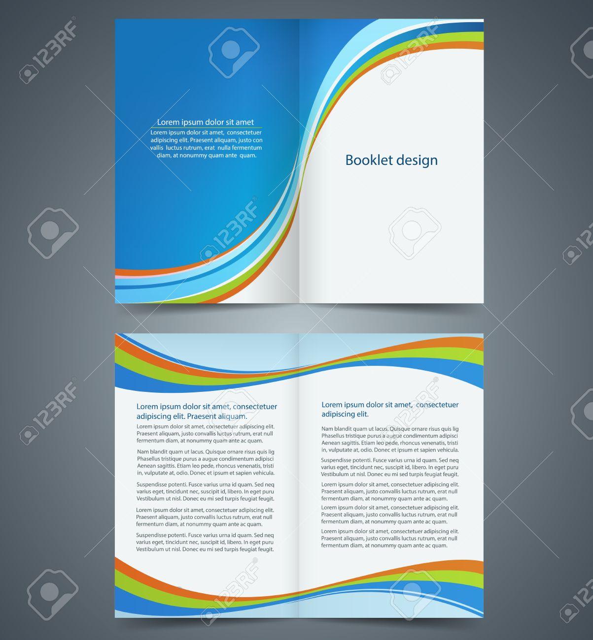 blue bifold brochure template design business leaflet booklet