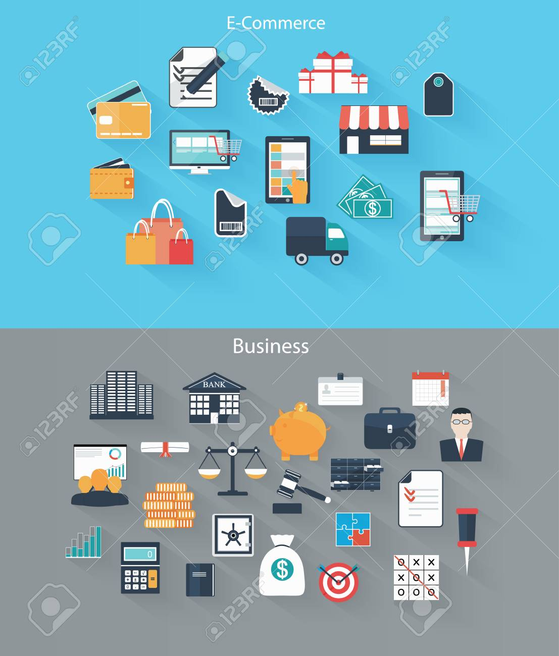 Set of flat icons for web and mobile devices, e-commerce, business Stock Vector - 27927107