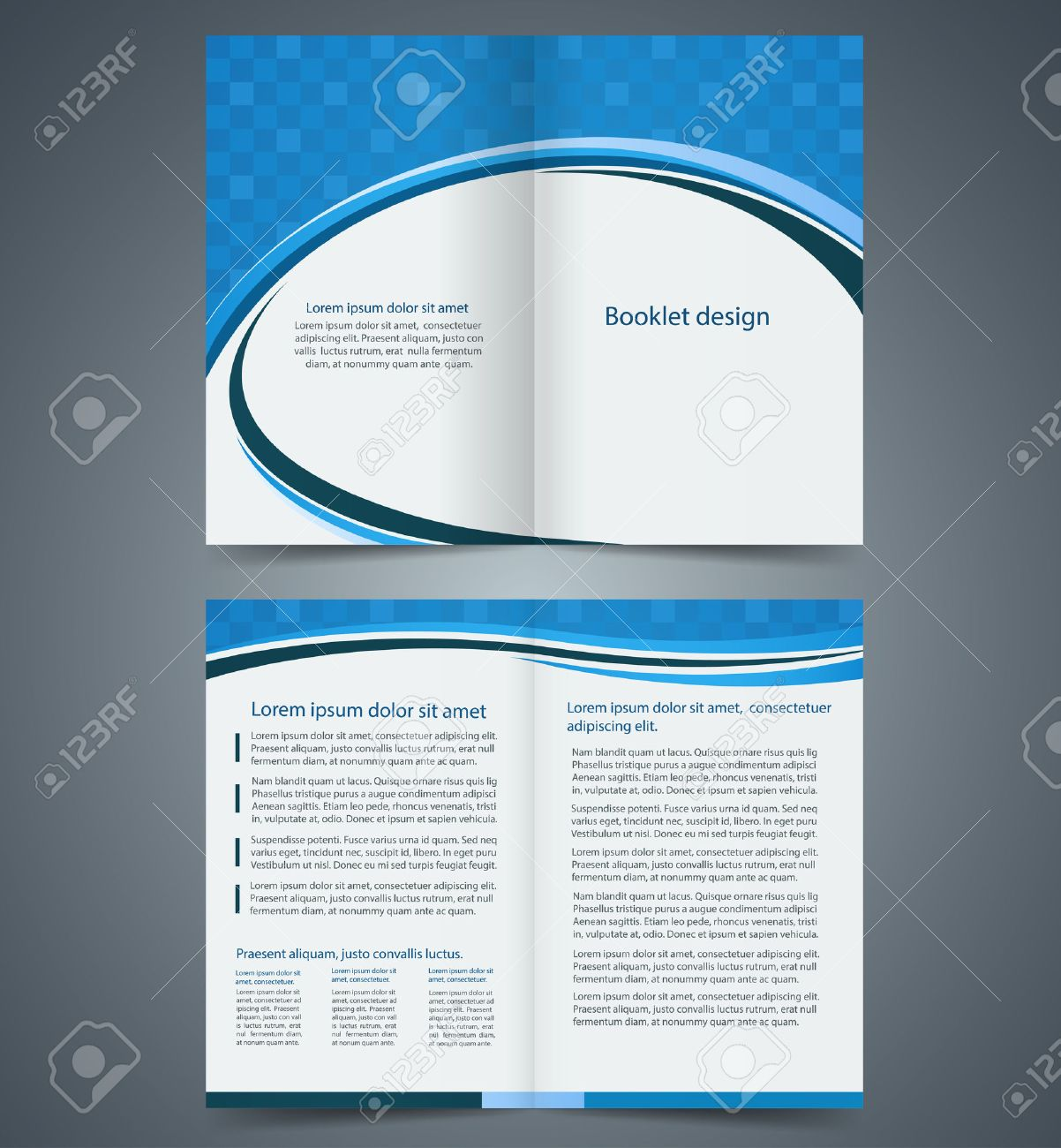 blue bifold brochure template design business leaflet booklet stock vector 27927290