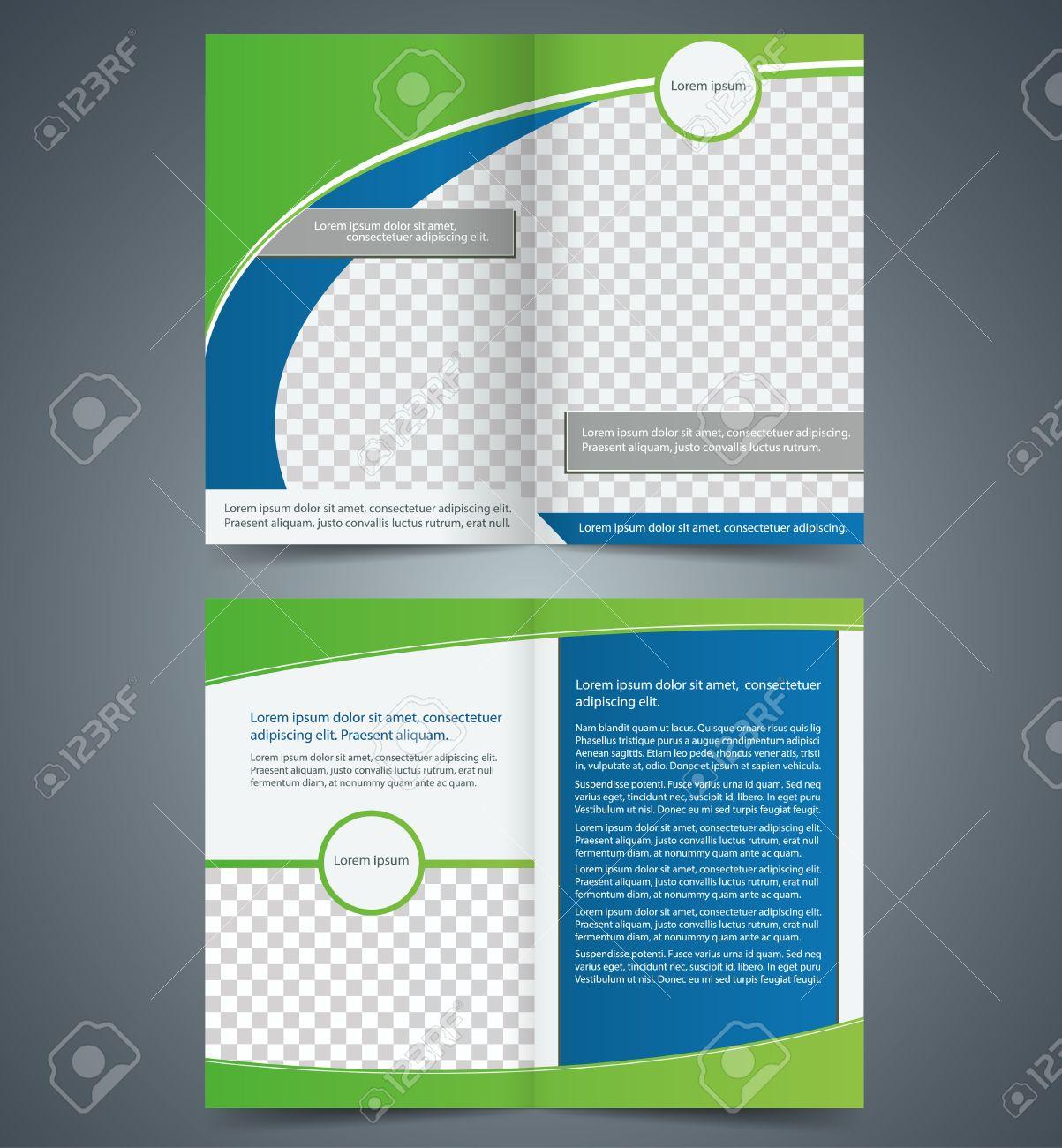 Leere Bifold Broschüre Template-Design Mit Grüner Farbe, Booklet ...