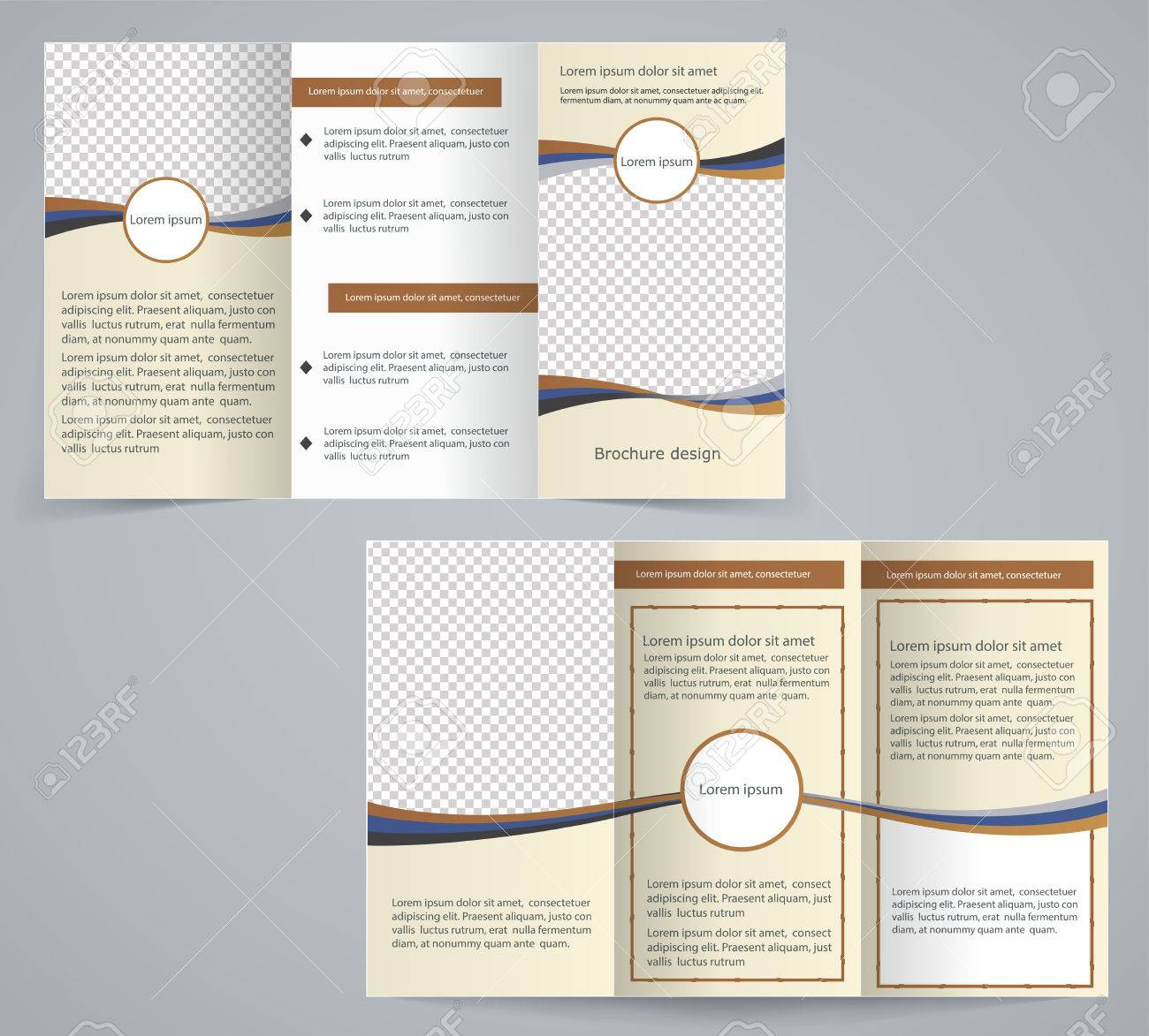 Tri-fold business brochure template, vector brown design flyer Stock Vector - 27927302