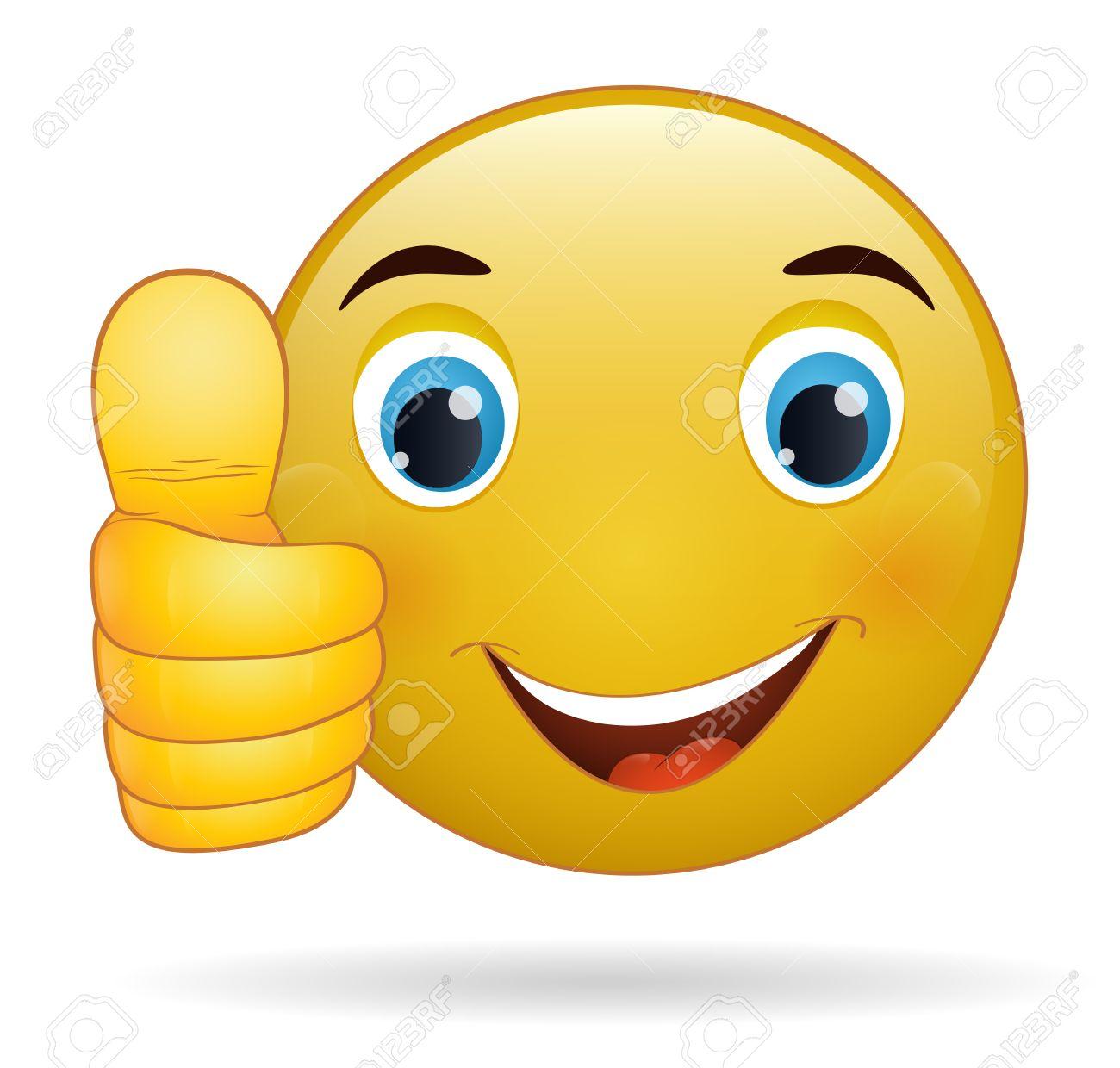 Thumb up émoticône, signe jaune de bande dessinée expression faciale Banque d'images - 27930077