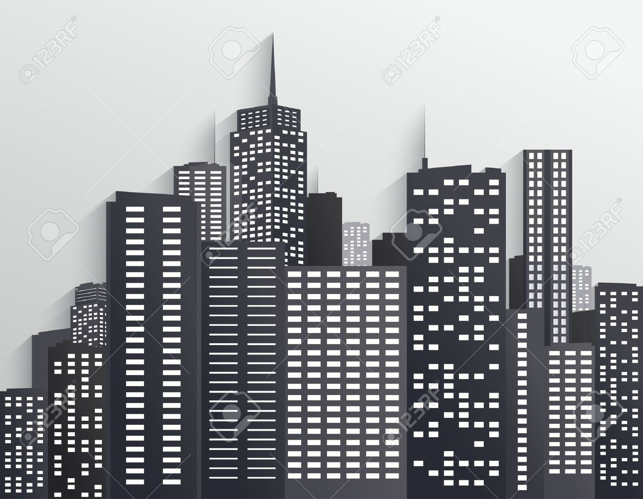 Cartoon City Skyline Black And White City Skyline