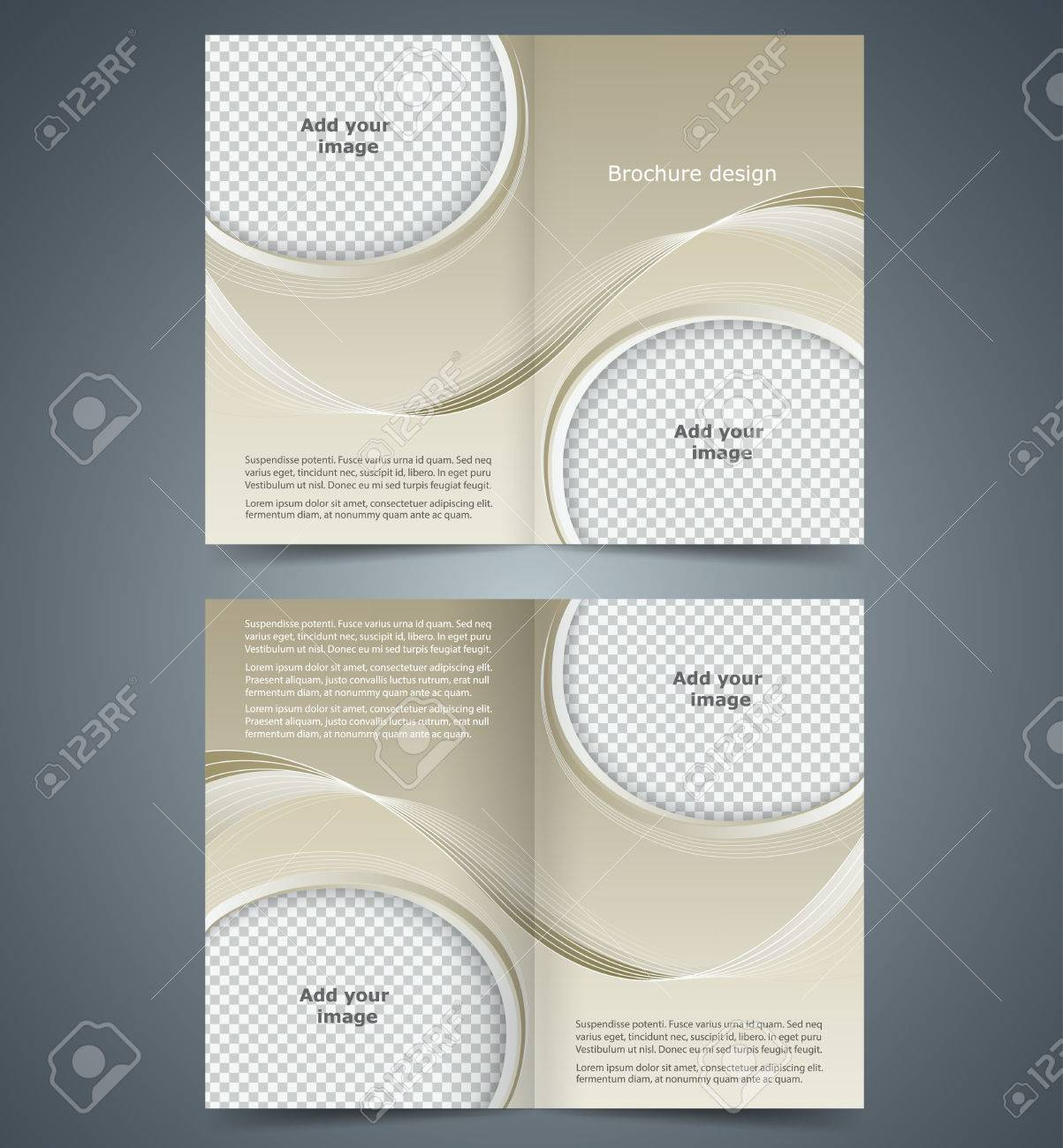 brown booklet template design with waves layout business brochure