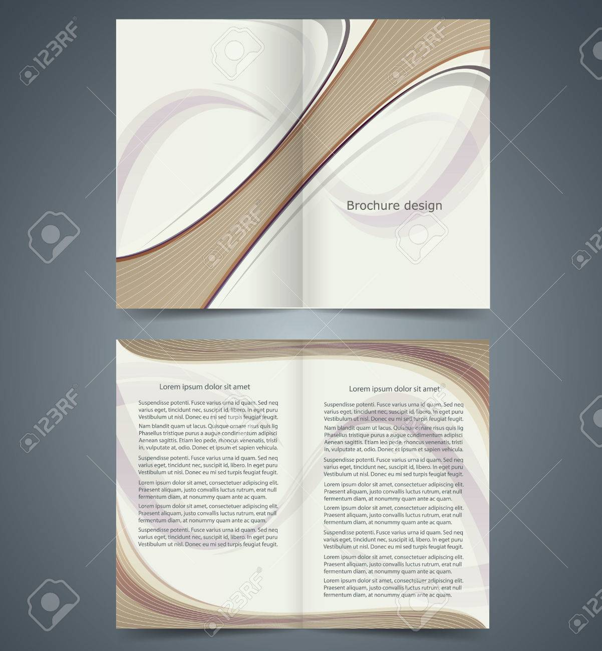 Booklet Template Design With Strips, Layout Business Brochure ...