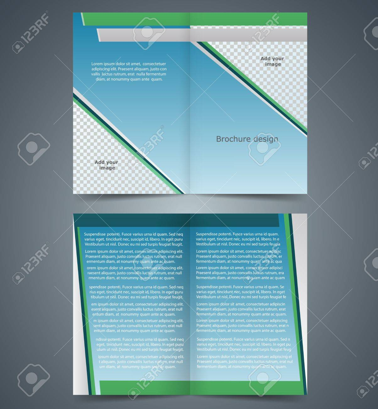 Booklet template, design with blue and green elements, layout business brochure, flyer template Stock Vector - 28059674