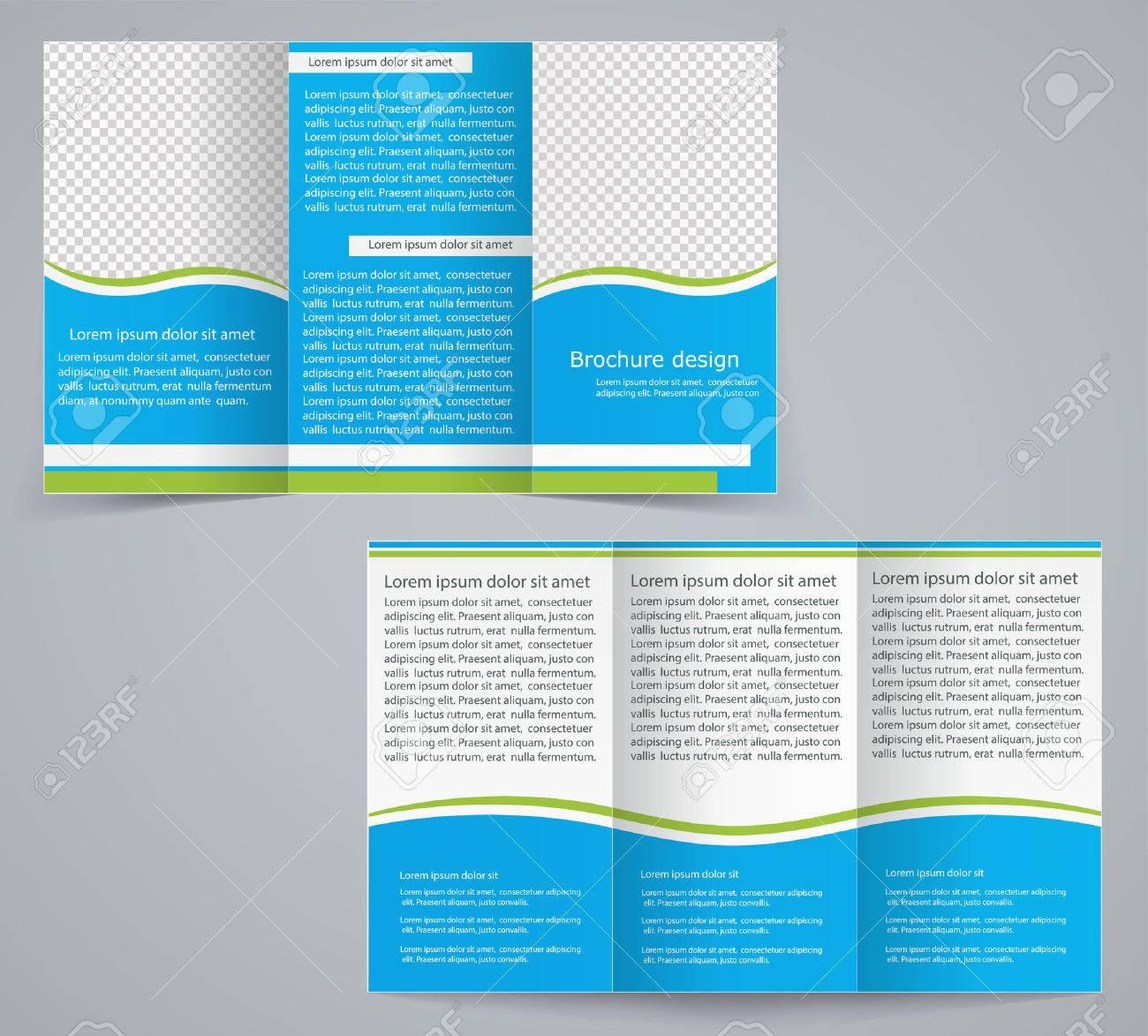 Tri-fold business brochure template, vector blue design flyer Stock Vector - 28059686