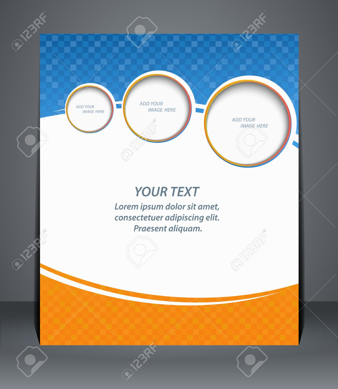 flyer design template or a magazine cover in blue and orange flyer design template or a magazine cover in blue and orange colors vector stock