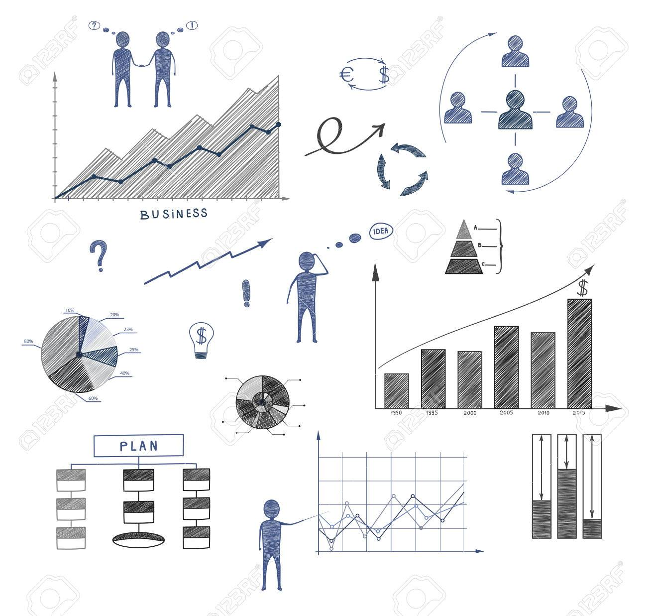 Business Doodle, Elements Of Infographics, Business Plan, Financial  Statements, Strategy Stock Vector