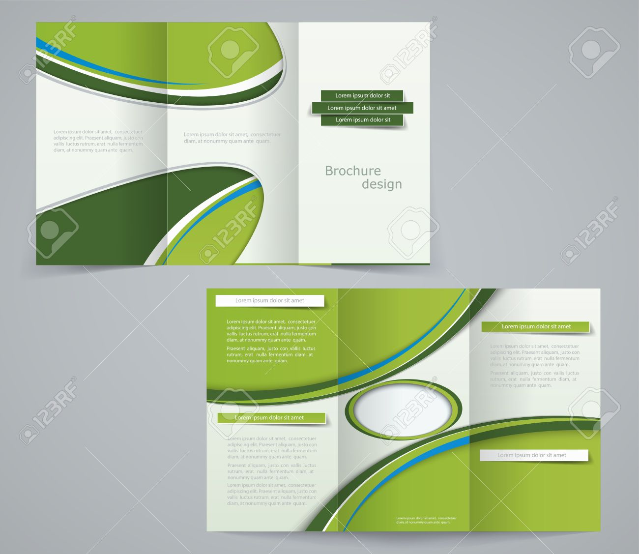 three fold brochure template corporate flyer or cover design