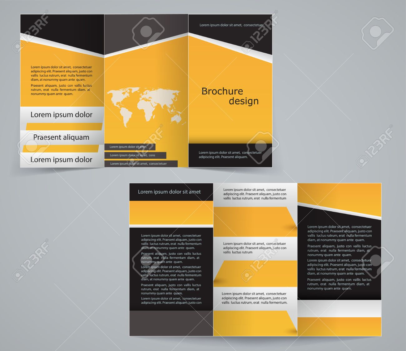 Three Fold Business Brochure Template, Corporate Flyer Or Cover Design In  Yellow Colors Stock Vector