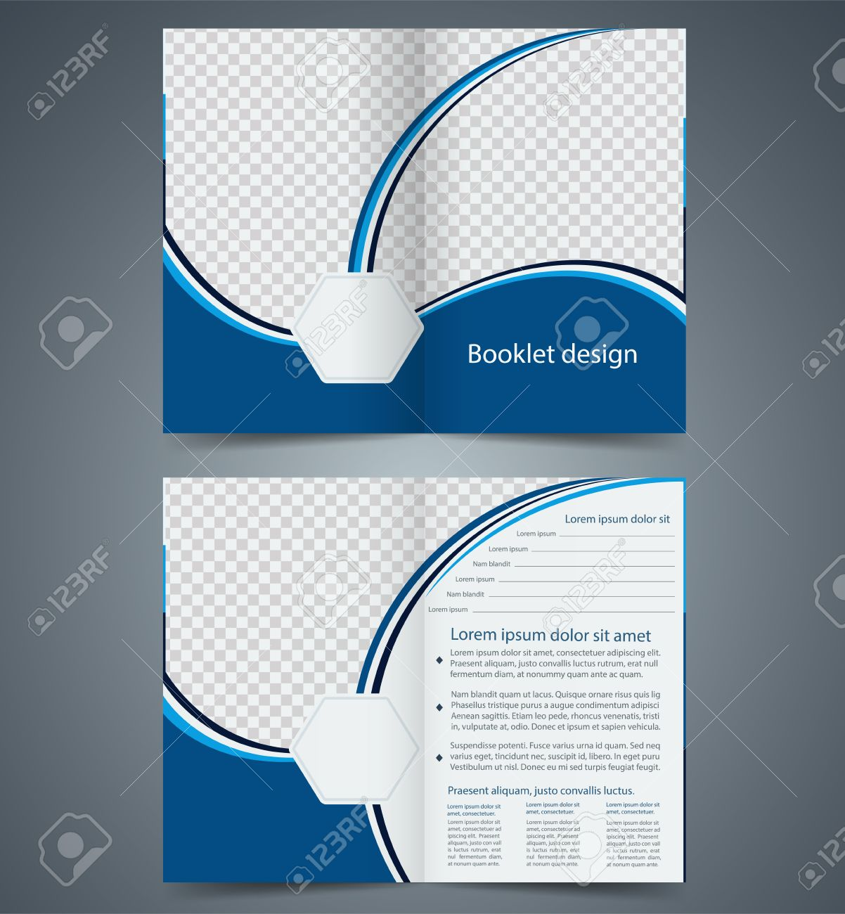 blue bifold brochure template design business leaflet booklet stock vector 30535624