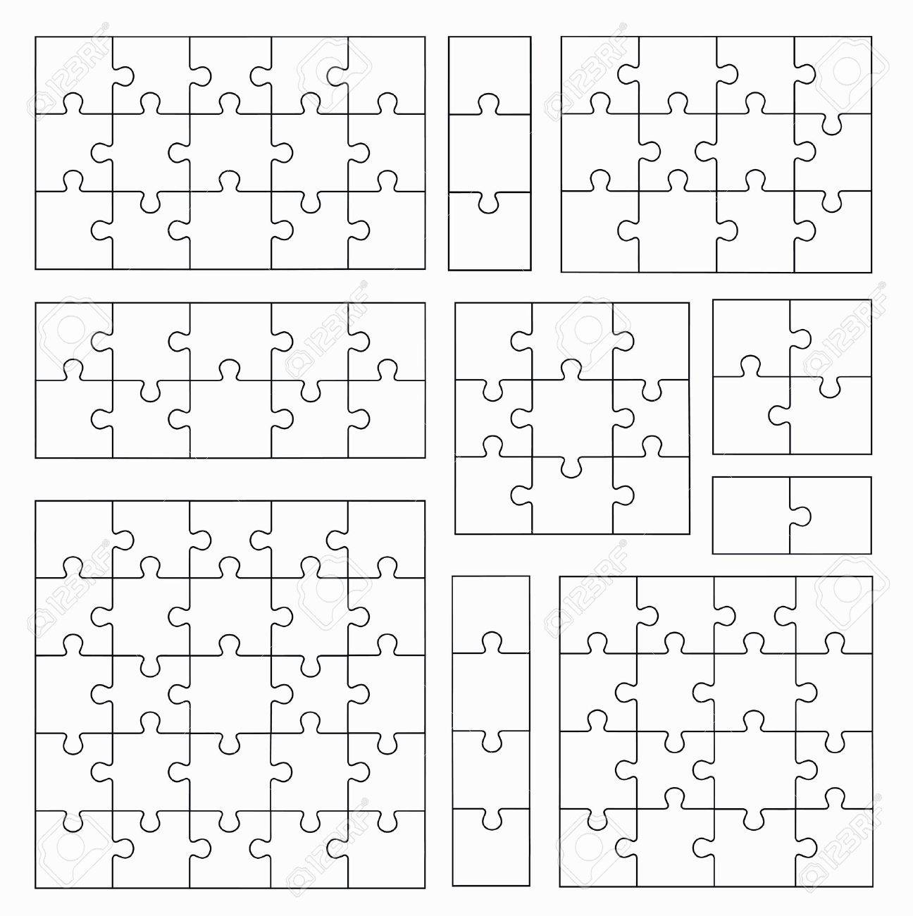 Jigsaw Puzzle Templates On White Background. Set Of Puzzle Pieces ...