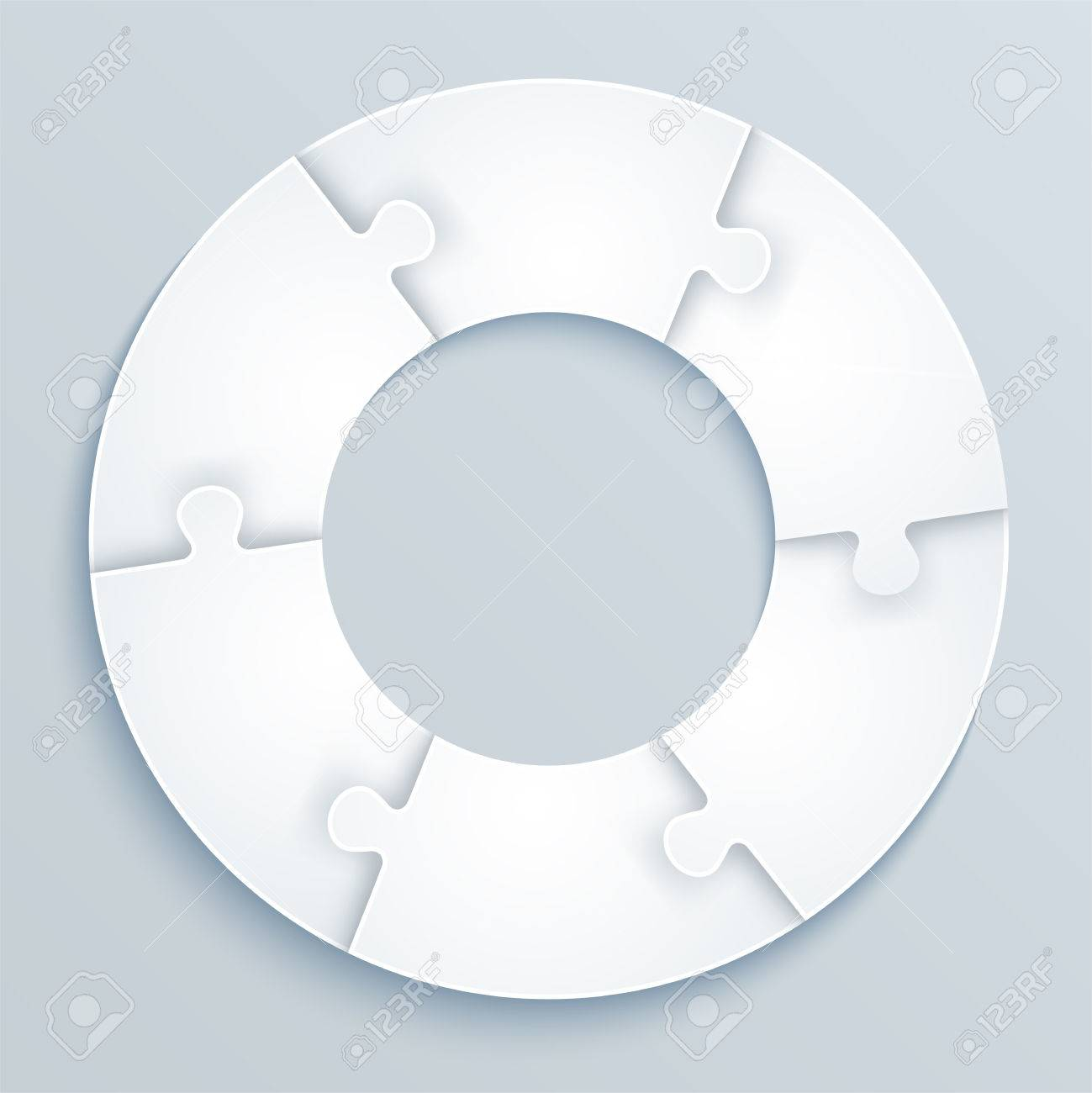 Parts Of Paper Puzzles In The Form A Circle 6 Pieces Stock Vector