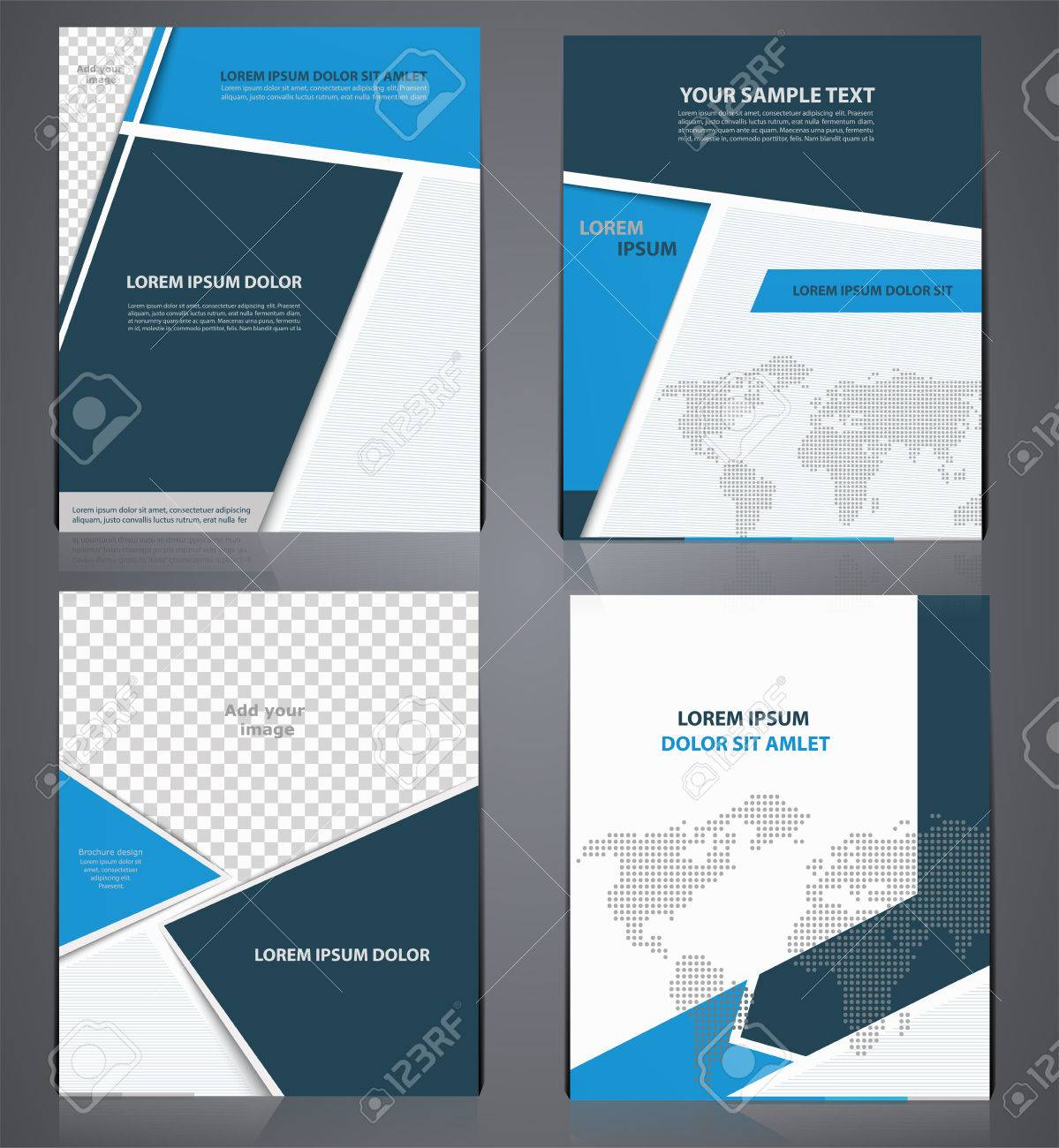 set of blue business brochures in one style with pixel world