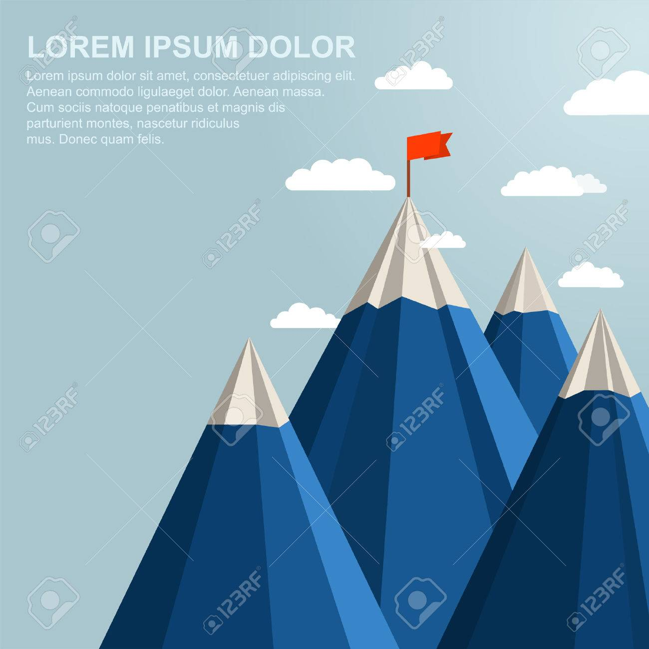 Landscape with red flag on top of Mountain. Leadership concept Stock Vector - 46175255