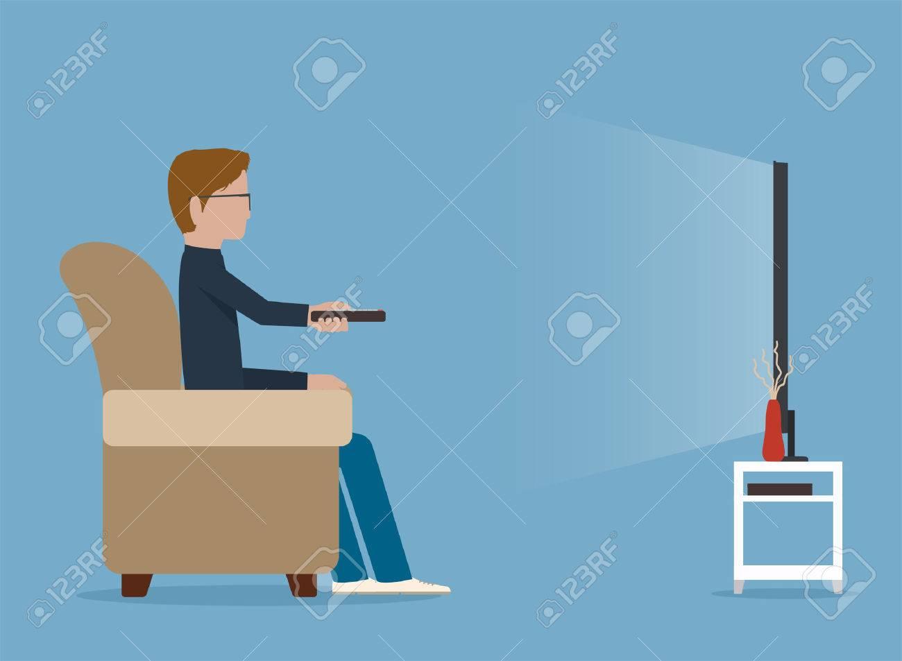 男がソファーでテレビを見る ロイヤリティフリークリップアート