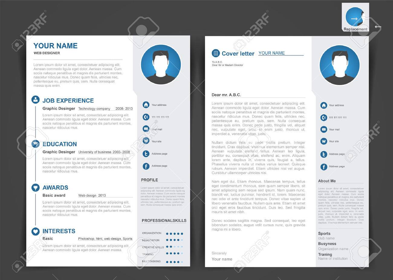 professional cv com professional cv resume template of two pages a size royalty professional cv resume template of two pages a size stock vector