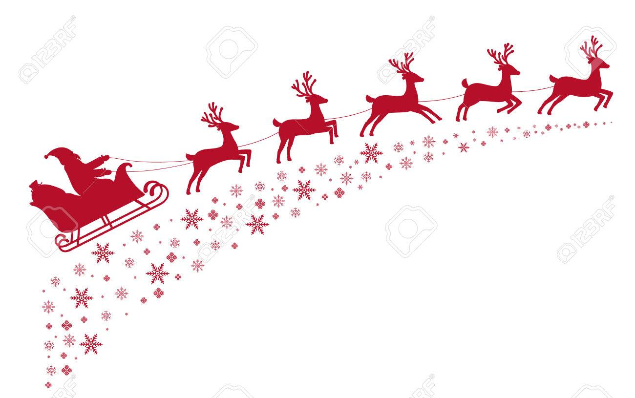 santa sleigh reindeer flying on background of snow covered stars