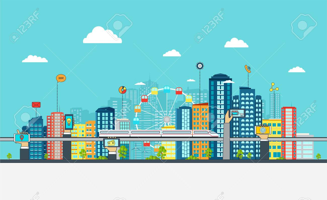 Smart City with business signs. Online business concept with hand phones. - 52182132