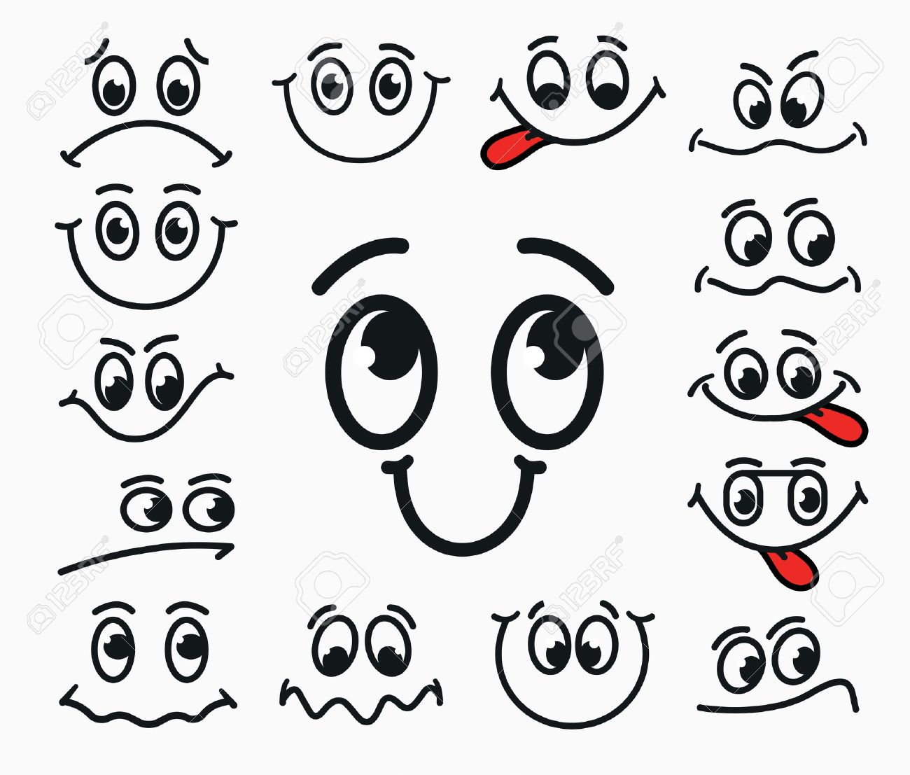 Cartoon facial expression of joy, of sadness, discontent. Emotions mouth and eyes with tongue. - 55853513